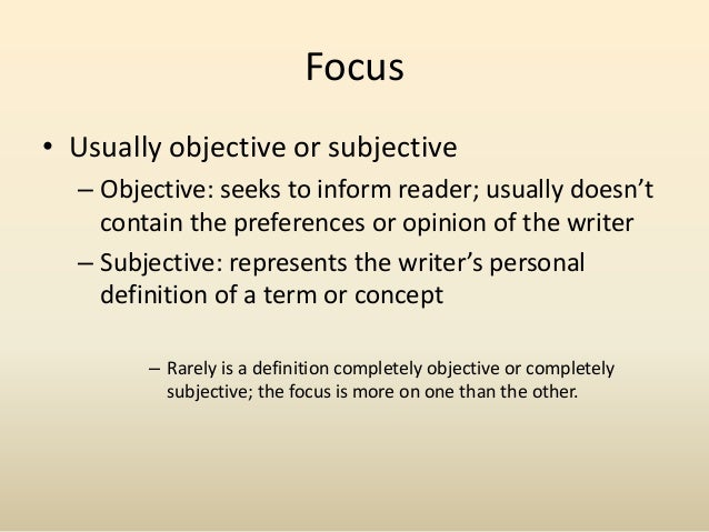 subjective definition essays Criminal law, objective definition, mental state - subjective definition of recklessness.