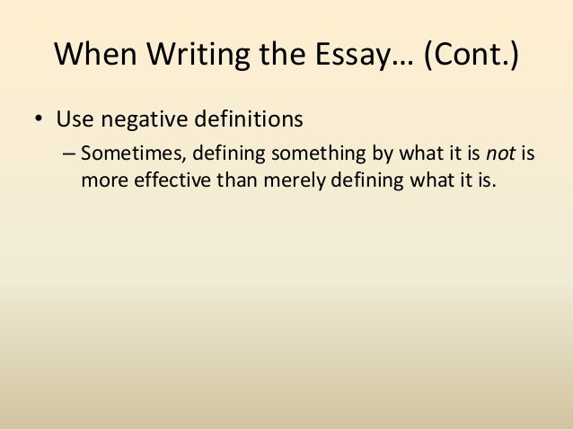the definition essay 8 when writing the essay