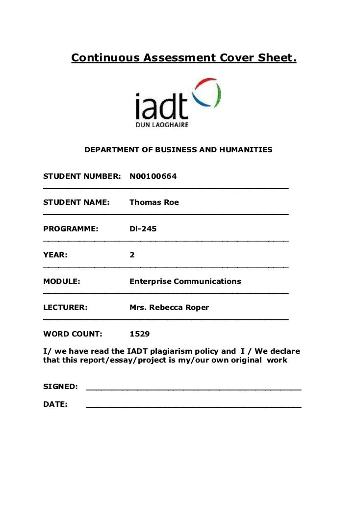 Continuous Assessment Cover Sheet.          DEPARTMENT OF BUSINESS AND HUMANITIESSTUDENT NUMBER: N00100664________________...