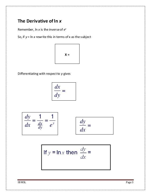The Derivative of e^x and lnx