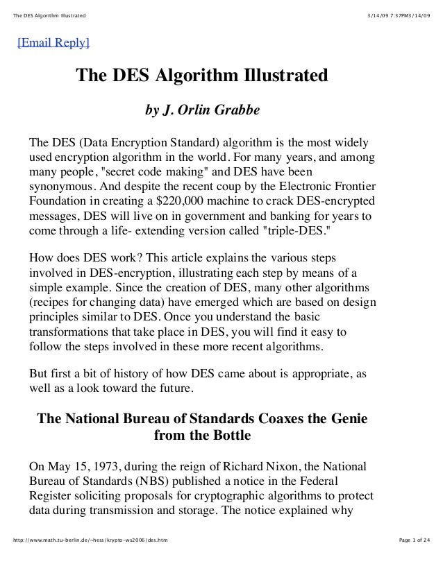 The DES Algorithm Illustrated                                               3/14/09 7:37PM3/14/09 [Email Reply]           ...
