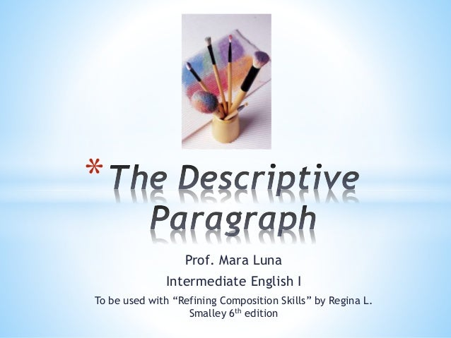 """Prof. Mara Luna  Intermediate English I  To be used with """"Refining Composition Skills"""" by Regina L.  Smalley 6th edition  ..."""