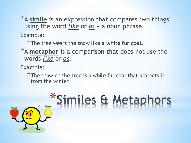 *A simile is an expression that compares two things  using the word like or as + a noun phrase.  Example:  *The tree wears...