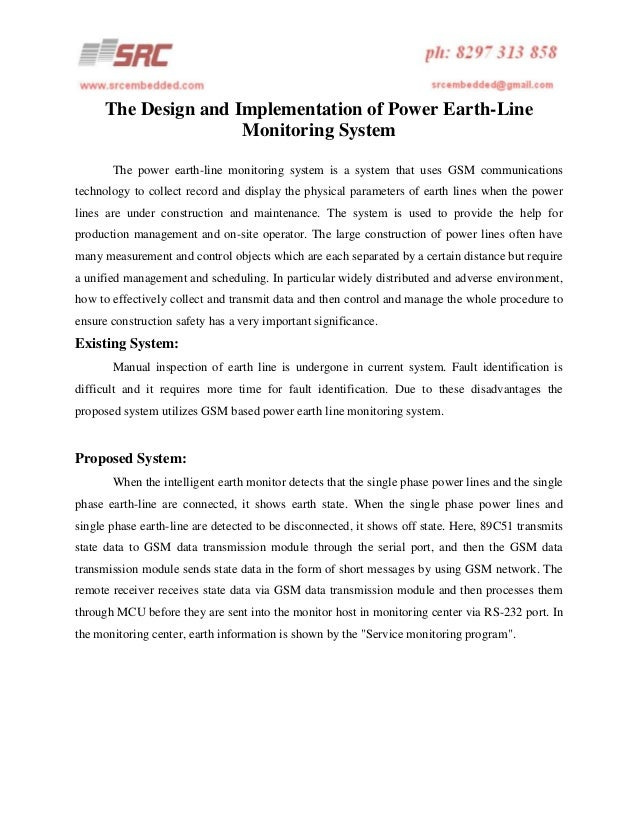 Earth Monitoring System : The design and implementation of power earth line
