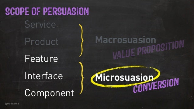 @mattdanna SCOPE OF PERSUASION Service Product Feature Interface Component VALUE PROPOSITION CONVERSIONMMMM Macrosuasion M...