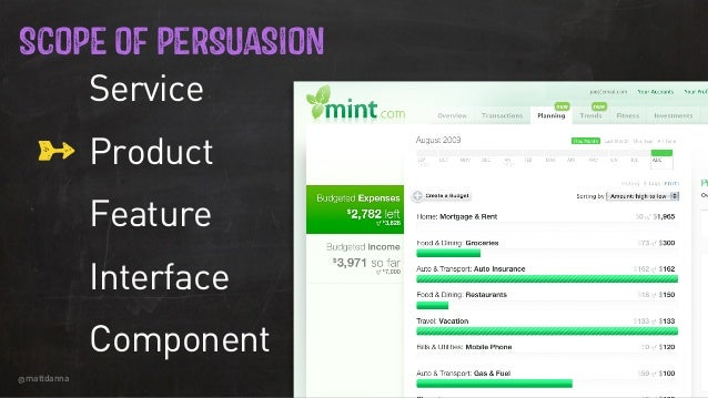 @mattdanna 1 SCOPE OF PERSUASION Service Product Feature Interface Component