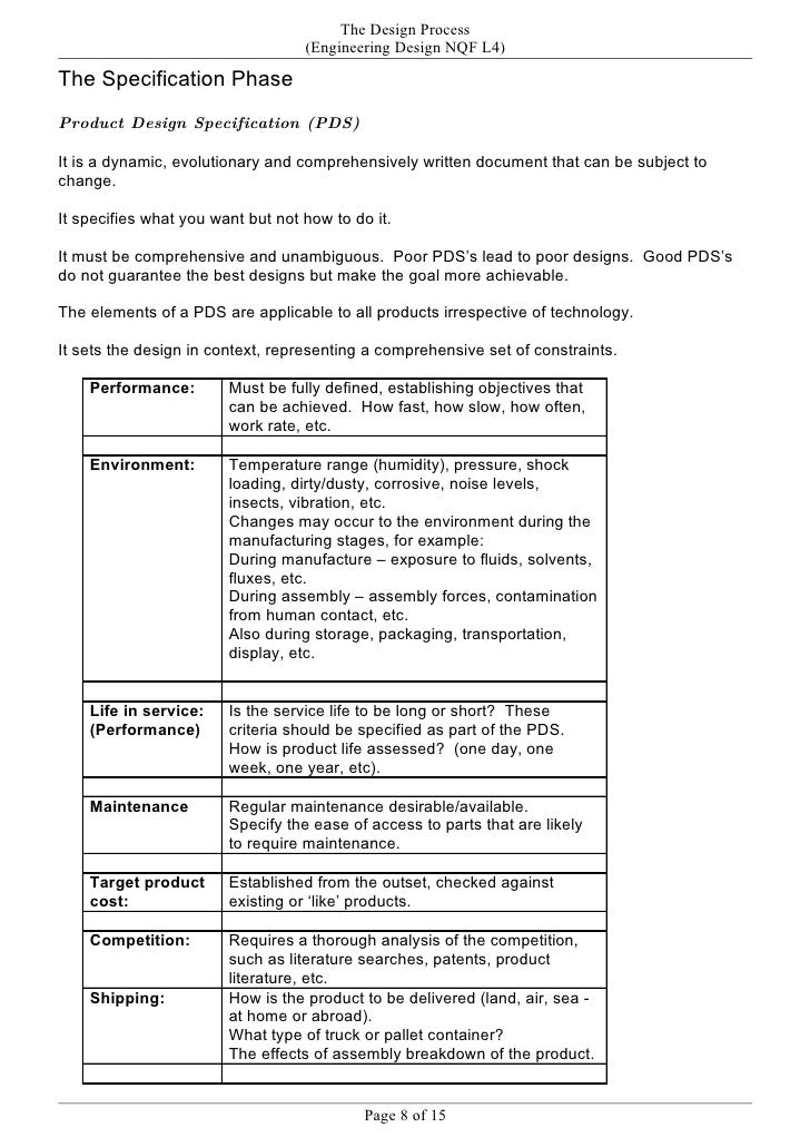 product design specification for a kettle