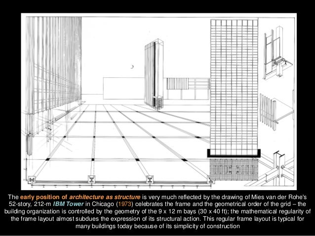 The early position of architecture as structure is very much reflected by the drawing of Mies van der Rohe's 52-story, 212...