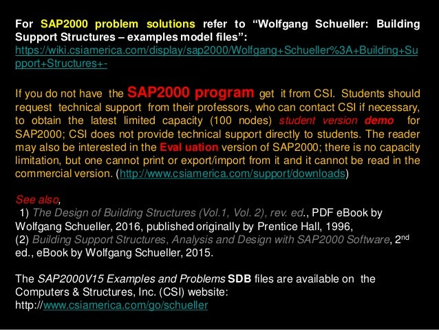 """For SAP2000 problem solutions refer to """"Wolfgang Schueller: Building Support Structures – examples model files"""": https://w..."""