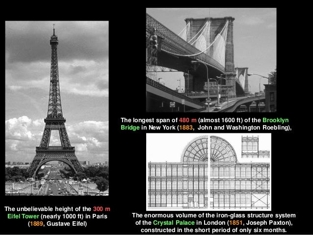 The unbelievable height of the 300 m Eifel Tower (nearly 1000 ft) in Paris (1889, Gustave Eifel) The longest span of 480 m...