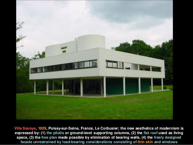 Villa Savoye, 1929, Poissy-sur-Seine, France, Le Corbusier; the new aesthetics of modernism is expressed by: (1) the pilot...