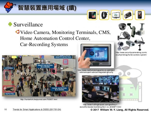 © 2017 William W.-Y. Liang, All Rights Reserved. 智慧裝置應用場域 (續) Surveillance Video Camera, Monitoring Terminals, CMS, Home A...