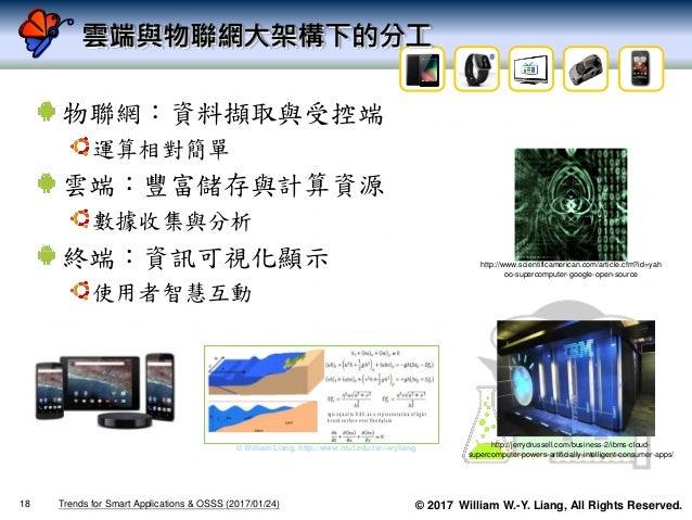 © 2017 William W.-Y. Liang, All Rights Reserved. 雲端與物聯網大架構下的分工 物聯網:資料擷取與受控端 運算相對簡單 雲端:豐富儲存與計算資源 數據收集與分析 終端:資訊可視化顯示 使用者智慧互動...