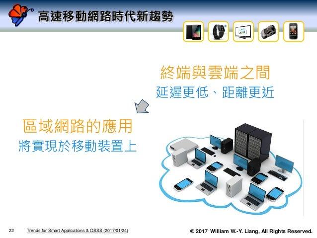 © 2017 William W.-Y. Liang, All Rights Reserved. 終端與雲端之間 延遲更低、距離更近 區域網路的應用 將實現於移動裝置上 高速移動網路時代新趨勢 Trends for Smart Applicat...