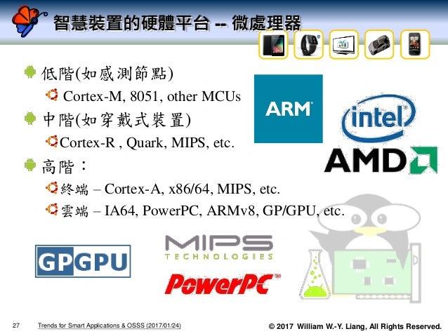© 2017 William W.-Y. Liang, All Rights Reserved. 智慧裝置的硬體平台 -- 微處理器 低階(如感測節點) Cortex-M, 8051, other MCUs 中階(如穿戴式裝置) Cortex-...