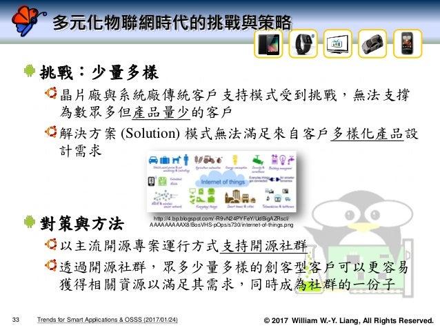 © 2017 William W.-Y. Liang, All Rights Reserved. 多元化物聯網時代的挑戰與策略 挑戰:少量多樣 晶片廠與系統廠傳統客戶支持模式受到挑戰,無法支撐 為數眾多但產品量少的客戶 解決方案 (Soluti...