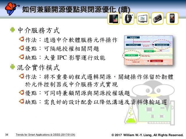 © 2017 William W.-Y. Liang, All Rights Reserved. 如何兼顧開源優點與閉源優化 (續) 中介服務方式 作法:透過中介軟體服務元件操作 優點:可隔絕授權相關問題 缺點:大量 IPC 影響運行效能 混合...