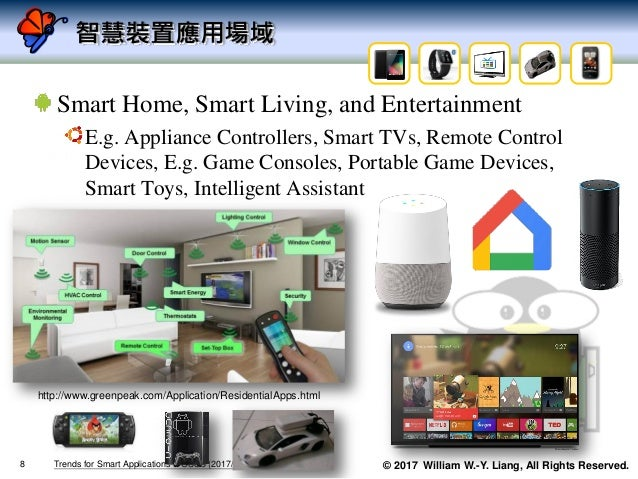 © 2017 William W.-Y. Liang, All Rights Reserved. 智慧裝置應用場域 Smart Home, Smart Living, and Entertainment E.g. Appliance Contr...