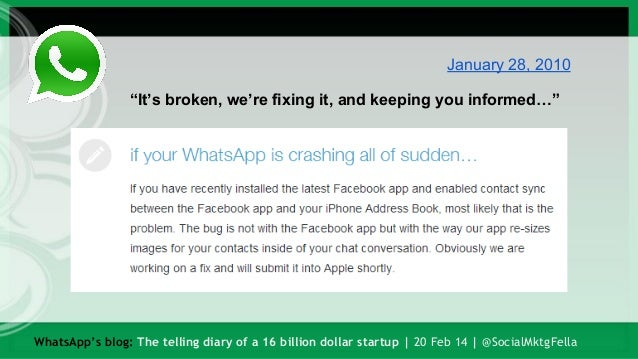 WhatsApp's blog: The telling diary of a 16 billion dollar startup Slide 3