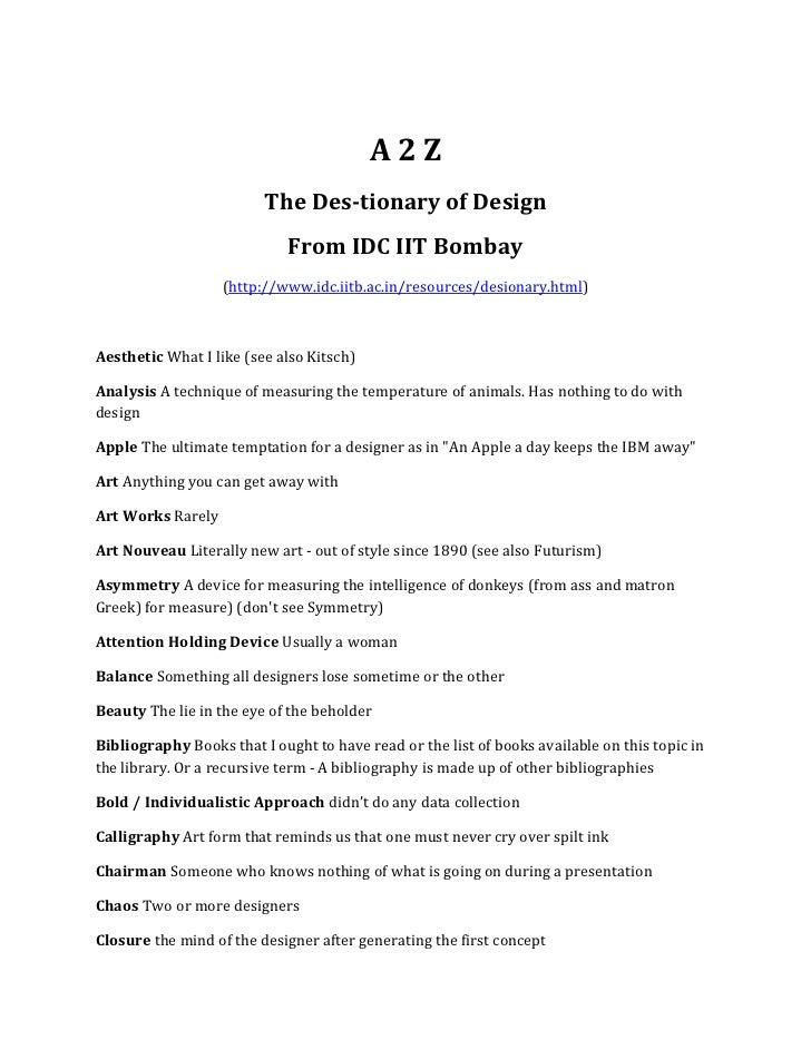 A2Z                         The Des-tionary of Design                             From IDC IIT Bombay                   (h...