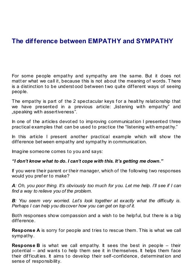 The difference between empathy and sympathy