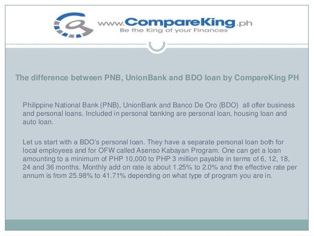 The Difference Between PNB, UnionBank and BDO Loan by CompareKing PH