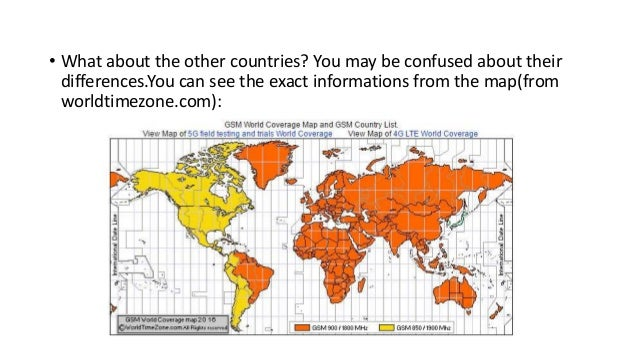 Different Cellular Frequencies in Different Countries