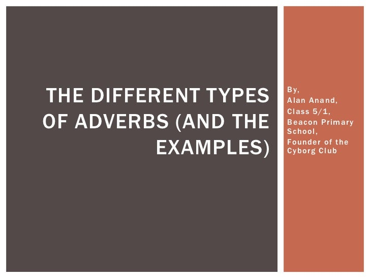 THE DIFFERENT TYPES   By,                      Alan Anand,                      Class 5/1 ,OF ADVERBS (AND THE   Beacon Pr...