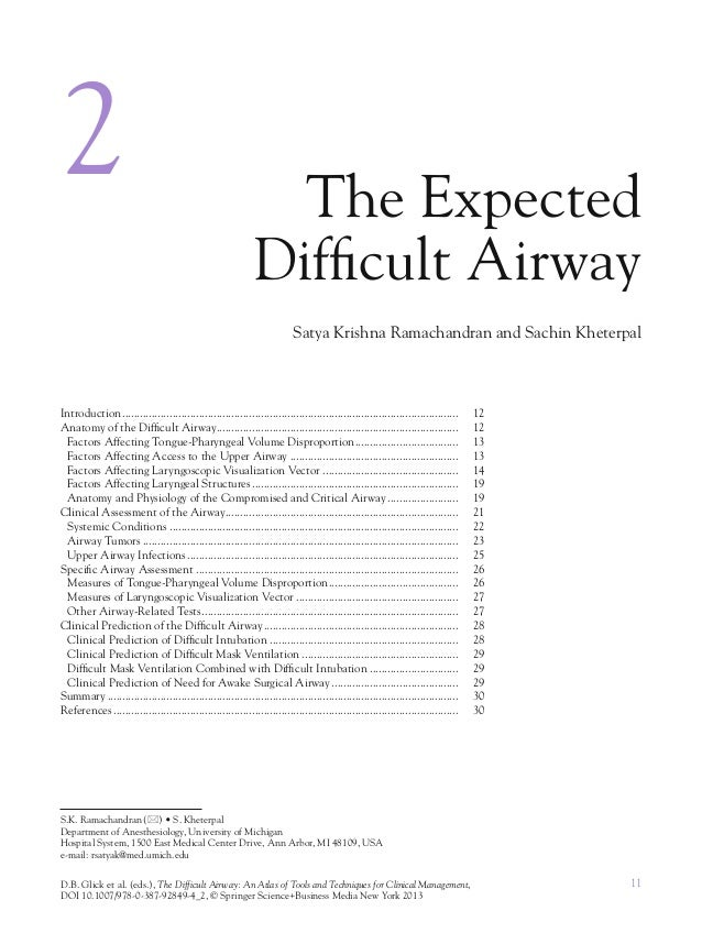 11D.B. Glick et al. (eds.), The Difficult Airway: An Atlas of Tools and Techniques for Clinical Management,DOI 10.1007/978...