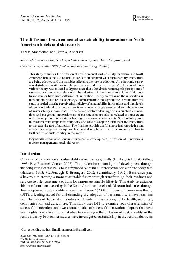 Journal of Sustainable TourismVol. 19, No. 2, March 2011, 171–196The diffusion of environmental sustainability innovations...