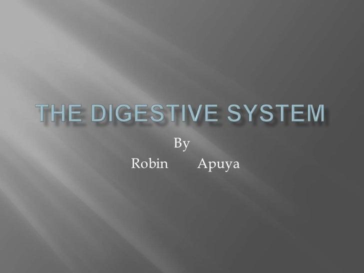 THE DIGESTIVE SYSTEM<br />By<br />  RobinApuya<br />