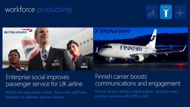 workforce productivity British Airways cabin crews, front-line staff use Yammer to address service issues Finnair drives b...