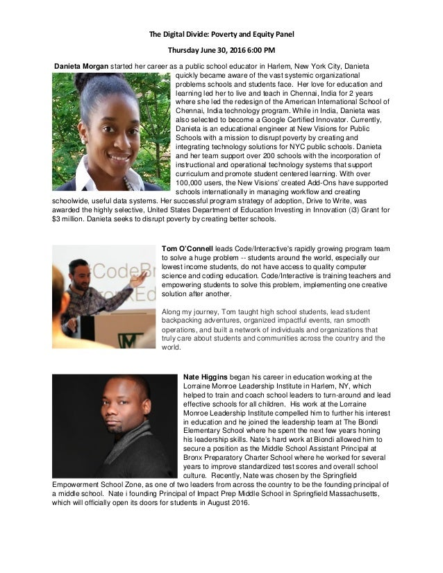 The Digital Divide: Poverty and Equity Panel Thursday June 30, 2016 6:00 PM Danieta Morgan started her career as a public ...