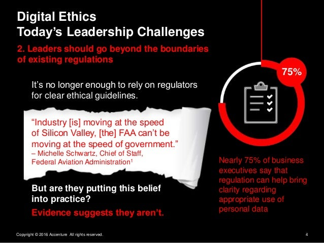 4Copyright © 2016 Accenture All rights reserved. Digital Ethics Today's Leadership Challenges 2. Leaders should go beyond ...