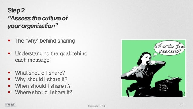 """Step 2 """"Assess the culture of your organization""""  The """"why"""" behind sharing  Understanding the goal behind each message ..."""
