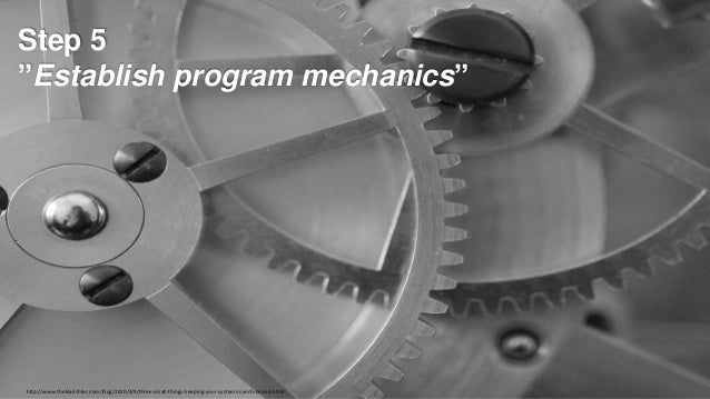 "Step 5 ""Establish program mechanics""  http://www.theklarichter.com/blog/2010/4/9/three-small-things-keeping-your-systems-s..."