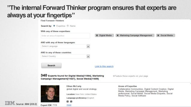 """""""The internal Forward Thinker program ensures that experts are always at your fingertips""""  Source: IBM (2012)  Copyright 2..."""