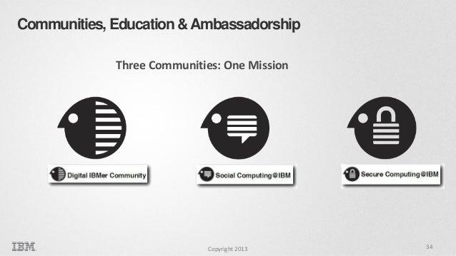 Communities, Education & Ambassadorship Three Communities: One Mission  Copyright 2013  34