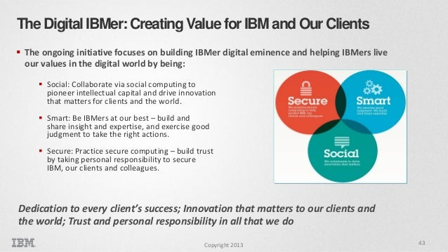 The Digital IBMer: Creating Value for IBM and Our Clients  The ongoing initiative focuses on building IBMer digital emine...
