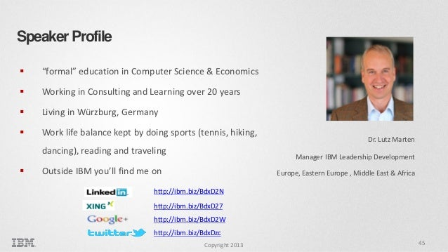 """Speaker Profile   """"formal"""" education in Computer Science & Economics    Working in Consulting and Learning over 20 years..."""