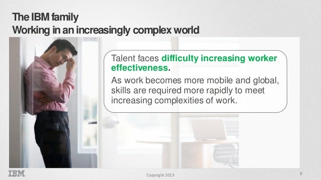 The IBM family Working in an increasingly complex world Talent faces difficulty increasing worker effectiveness. As work b...