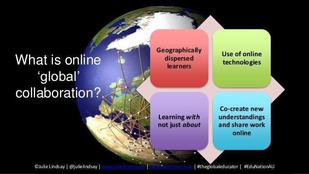 Geographically dispersed learners Use of online technologies Learning with not just about Co-create new understandings and...