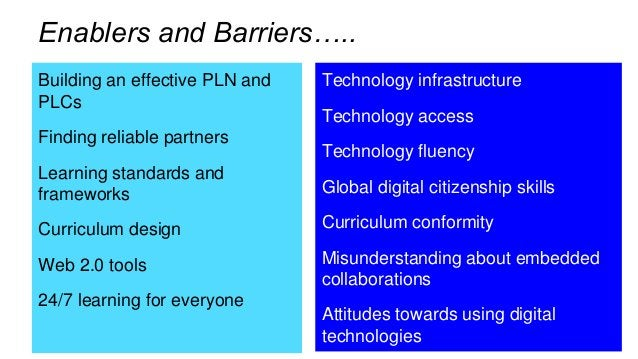 Building an effective PLN and PLCs Finding reliable partners Learning standards and frameworks Curriculum design Web 2.0 t...