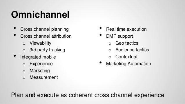 Agencies analyze relationships cross platform and cross channel. Startups tend to measure in silos