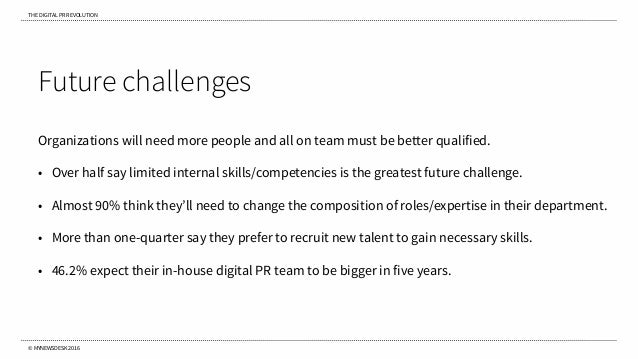 THE DIGITAL PR REVOLUTION © MYNEWSDESK 2016 Future challenges Organizations will need more people and all on team must be ...