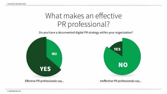 THE DIGITAL PR REVOLUTION © MYNEWSDESK 2016 What makes an effective PR professional? NO YES Effective PR professionals say....
