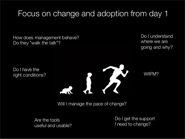 """Focus on change and adoption from day 1  Will I manage the pace of change?  WIIFM?  How does management behave?  Do they """"..."""