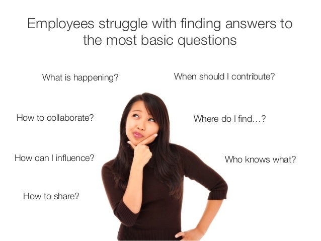 Employees struggle with finding answers to  the most basic questions  What is happening?  How to collaborate?  How can I i...