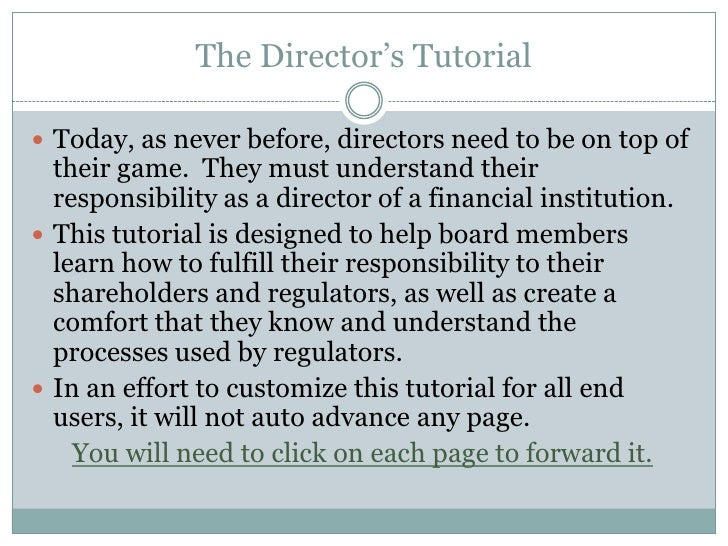 The Director's Tutorial<br />Today, as never before, directors need to be on top of their game.  They must understand thei...