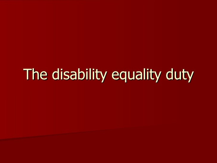 The disability equality duty